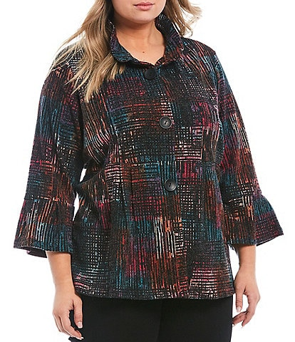 Ali Miles Plus Size Brushed Knit Abstract Print Peplum Wire Collar Jacket