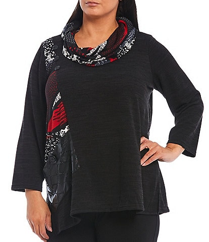 Ali Miles Plus Size Cowl Neck Long Sleeve Abstract Print Sweater Knit Top with Large Button Pocket