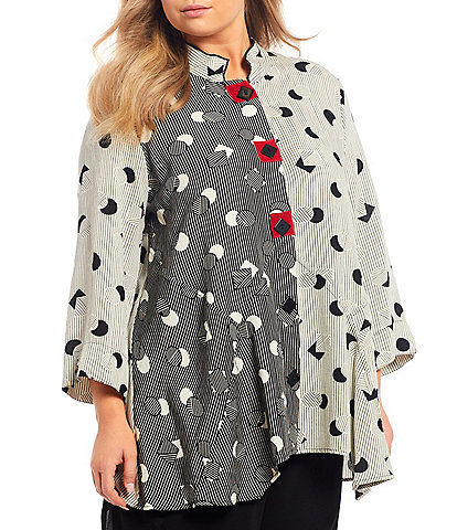Ali Miles Plus Size Crinkle Mixed Print Asymmetrical Button Front 3/4 French Cuff Sleeve Tunic