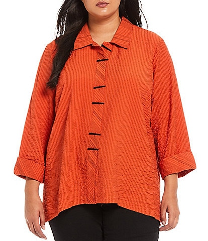 Ali Miles Plus Size Crinkle Stripe Button Front Point Collar Neck French Cuff 3/4 Sleeve Tunic