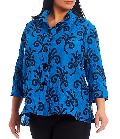 Ali Miles Plus Size Crinkle Swirl Flower Print Button Front Tunic