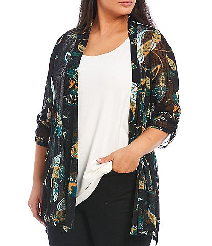 Ali Miles Plus Size Floral Print Shawl Collar Cinched Sleeve Onion Skin Open Front Jacket