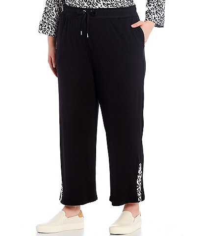 Ali Miles Plus Size Leopard Print French Baby Terry Grommet Pull On Drawstring Pants