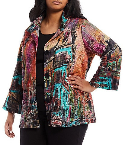 Ali Miles Plus Size Long Flared Sleeve Scenic Print Textured Button Front Point Collar Jacket