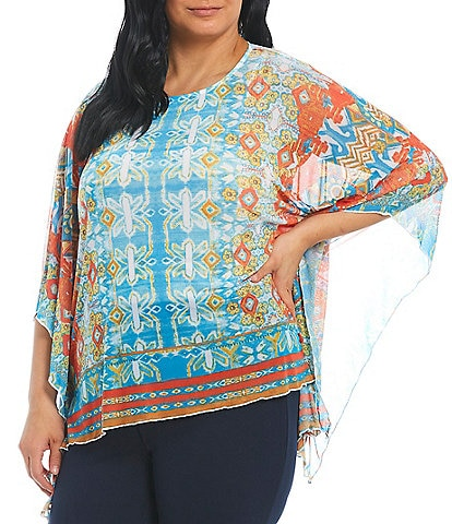 Ali Miles Plus Size Medallion Print Round Neck Mesh Hi-Low Poncho Top