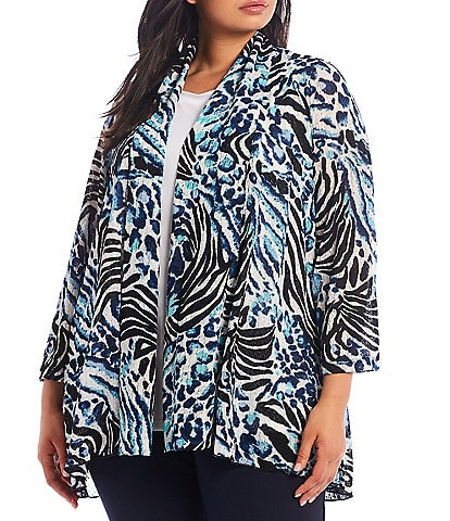 Ali Miles Plus Size Mixed Animal Print Open-Front Drop Needle Onion Skin Jacket