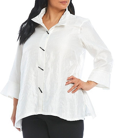 Ali Miles Plus Size Shimmer Button Front 3/4 Cuffed Sleeve Blouse