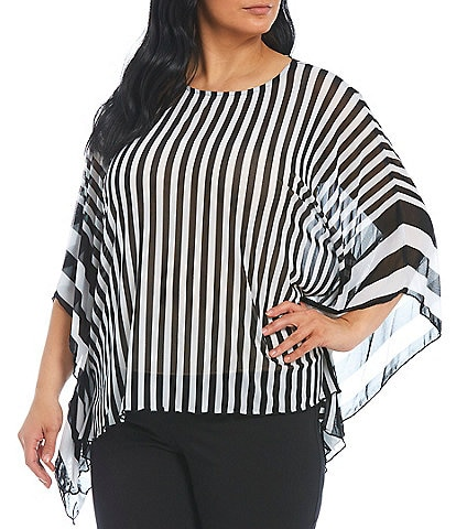Ali Miles Plus Size Stripe Print Round Neck Mesh Hi-Low Poncho Top