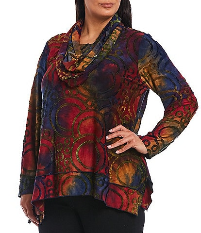 Ali Miles Plus Size Tie-Dye Abstract Texture Knit 3/4 Sleeve Tunic With Attached Scarf