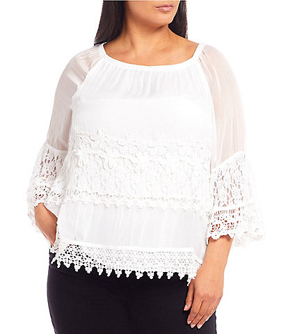 Ali Miles Plus Size Tiered Lace Crochet 3/4 Sleeve Peasant Top