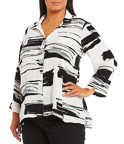 Ali Miles Plus Size Wire Point Collar Spread Neck Long Sleeve High-Low Abstract Print Tunic