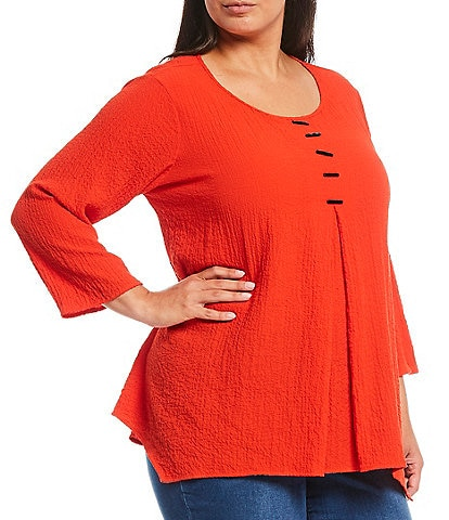 Ali Miles Plus Size Woven Crinkle 3/4 Sleeve Scoop Neck Sharkbite Hem Tunic