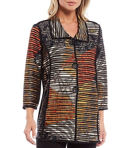 Ali Miles Printed Ribbed Knit 3/4 Sleeve Button Front Jacket