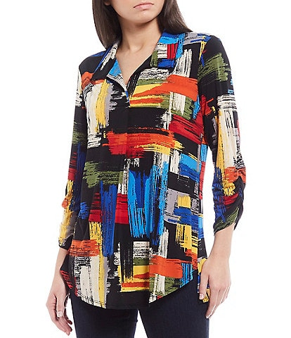Ali Miles Printed Soft Knit 3/4 Cinched Sleeve Collared Tunic