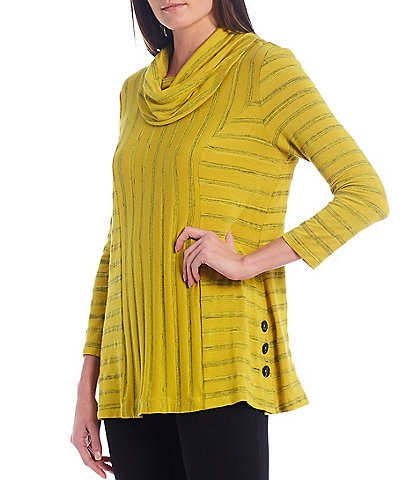 Ali Miles Printed Stripe Cowl Neck Knit Tunic
