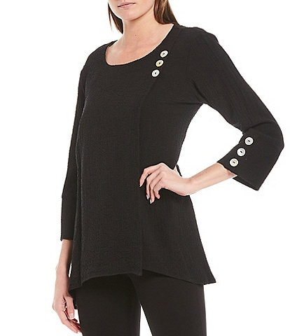 Ali Miles Scoop Neck Button Trim Texture Knit Top