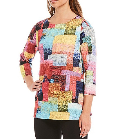 Ali Miles Scoop Neck Geo Print Knit Tunic