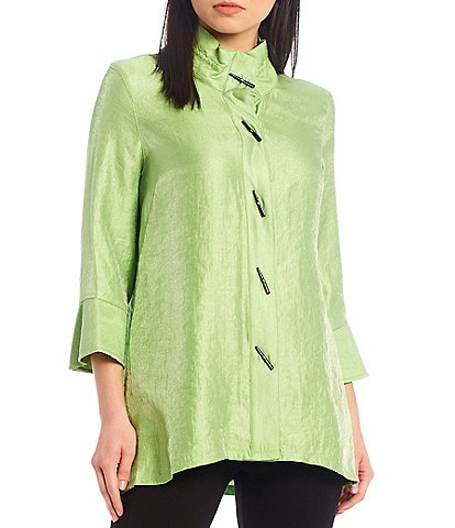 Ali Miles Shimmer Button Front 3/4 Cuffed Sleeve Wire Collar Blouse