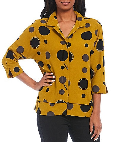 Ali Miles Texture Crinkle Woven Mixed Dot Button Front Wire Collar Button Front Blouse