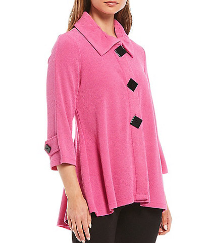 Ali Miles Texture Knit Wire Neck 3/4 Sleeve Jacket