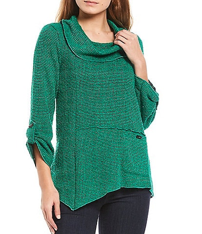 Ali Miles Textured Knit Cowl Neck 3/4 Roll-Tab Sleeve Tunic
