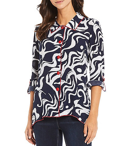 Ali Miles Textured Print Roll Tab Sleeve Button Front Shirt