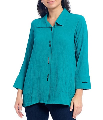 Ali Miles Woven Crinkle Button Front Blouse