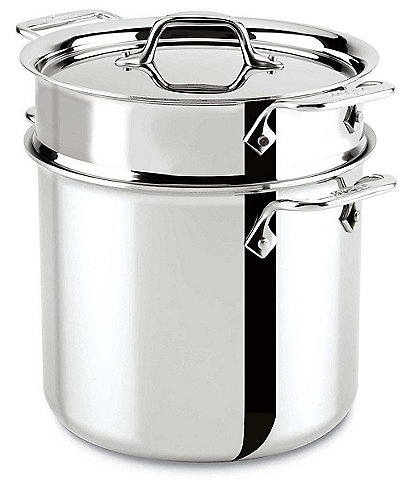 All-Clad D3 Stainless 3-ply Bonded Cookware, Pasta Pentola with lid, 7 quart