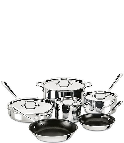 All-Clad D3 Stainless 3-ply Bonded Cookware Set, Nonstick 10 piece Set