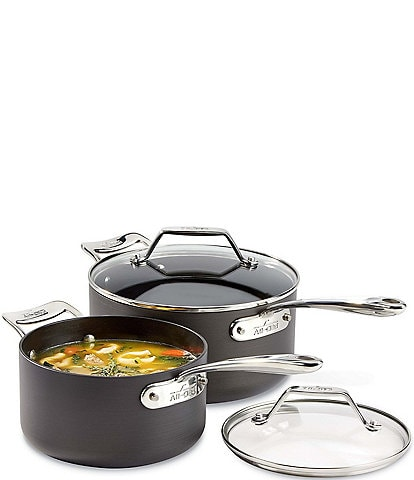 All-Clad Essentials Nonstick Cookware Set, 2-Piece Sauce Pan Set with Lid, 2.5qt & 4.5 qt