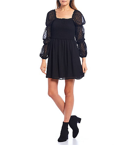 Allison & Kelly Balloon-Sleeve Flocked Dot Smocked Bodice Dress