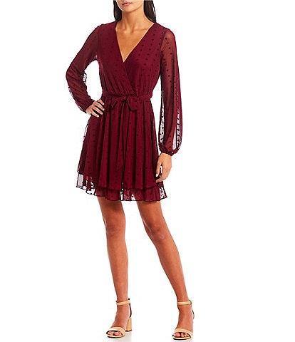 Allison & Kelly Long Sheer Sleeve Surplice Neck Flocked Dot Tiered Dress