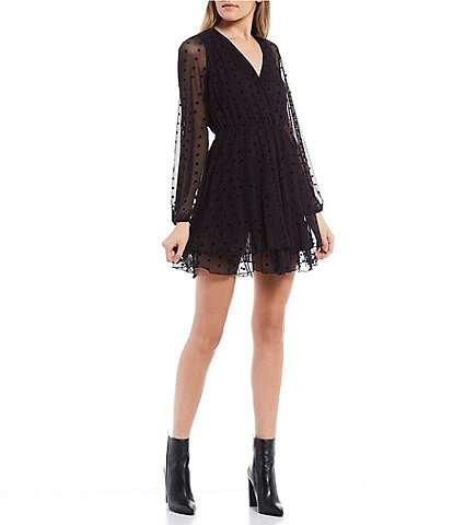 Allison & Kelly Long Sheer Sleeve Surplice Neck Flocked Dot Tiered Dress