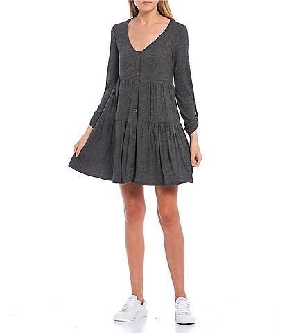 Allison & Kelly Long Sleeve Button-Front Babydoll Dress