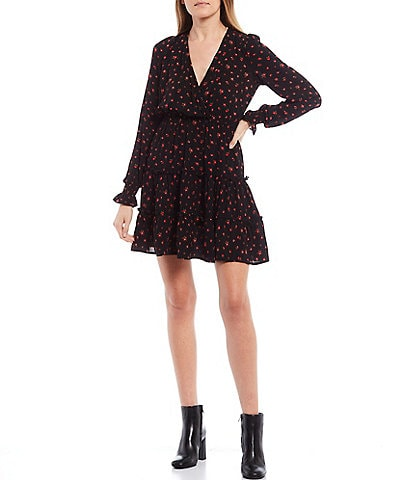 Allison & Kelly Long-Sleeve Ditsy Floral Print Tiered Faux-Wrap Dress
