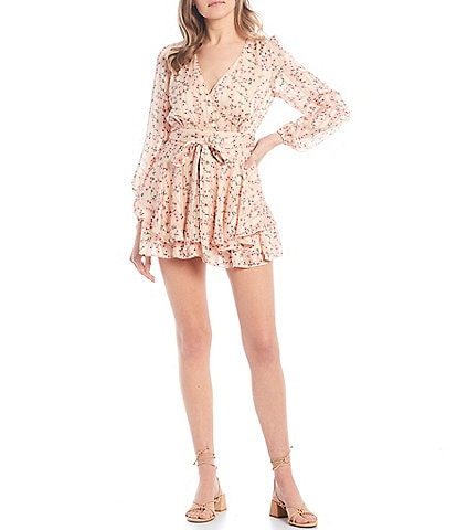 Allison & Kelly Long Sleeve Ditsy Floral Tiered Romper