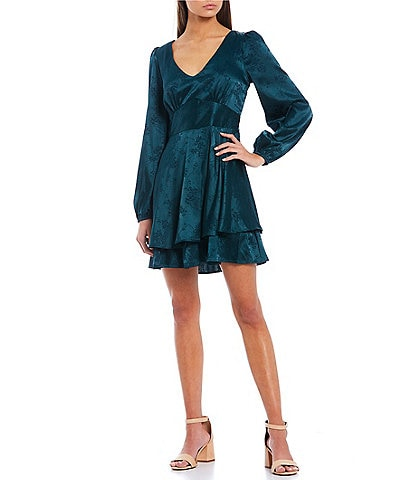 Allison & Kelly Long-Sleeve Lace-Up-Back Fit-And-Flare Floral Jacquard Satin Dress