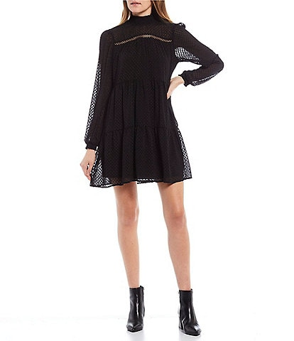 Allison & Kelly Long-Sleeve Mock-Neck Clip-Dot Chiffon Shift Dress