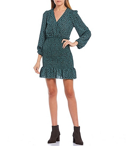 Allison & Kelly Long Sleeve Surplice Leopard Print Smocked Dress