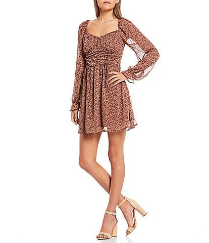Allison & Kelly Long-Sleeve Tie-Accented-Corset Ditsy-Floral Print Fit-And-Flare Dress