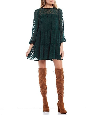 Allison & Kelly Long-Sleeve Tiered Clip Dot Babydoll Dress