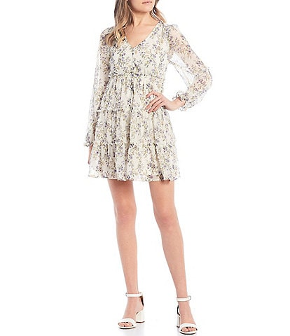 Allison & Kelly Long-Sleeve V-Neck Floral Print Tiered Babydoll Dress