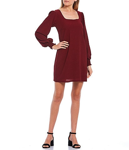 Allison & Kelly Long Sleeve X-Back Trapeze Dress