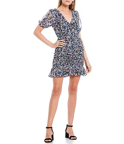 Allison & Kelly Puff Sleeve Ditsy Floral Ruched Dress