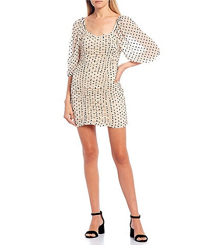 Allison & Kelly Short Puff Sleeve Flocked Dotted Mesh Ruched Sheath Dress
