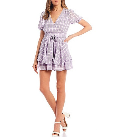 Allison & Kelly Short Puff Sleeve Surplice Windowpane Romper