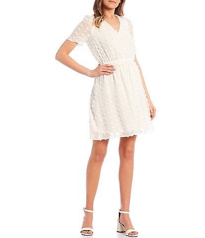 Allison & Kelly Short-Sleeve Large Clip-Dot Fit-and-Flare Dress