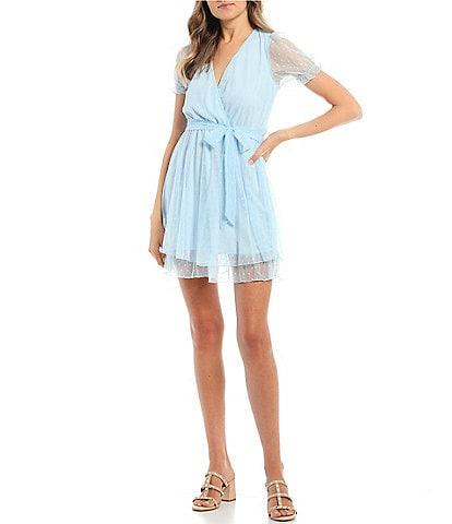 Allison & Kelly Short Sleeve Mesh Dot Double Hem Dress