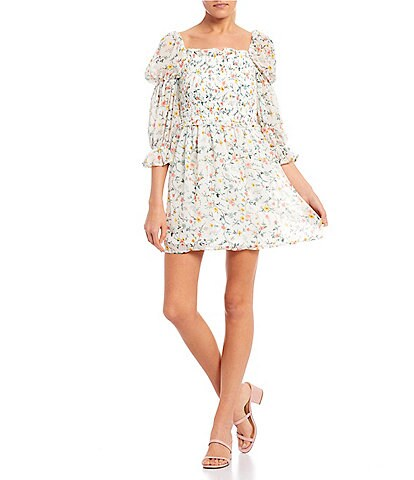 Allison & Kelly Smocked Ditsy Floral Dress