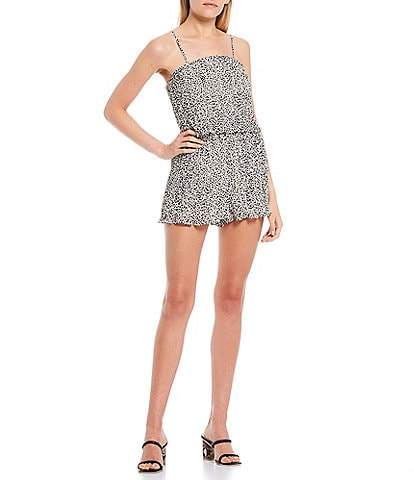 Allison & Kelly Spaghetti Strap Printed Pleated Chiffon Romper